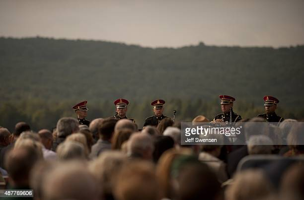 The US Army Brass Band looks over the audience at the Flight 93 National Memorial during the 14th anniversary of the 9/11 attack in Shanksville...