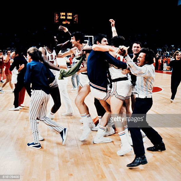 The US basketball players jubilate on September 09 1972 for a short moment as they mistakenly celebrate what they thought was a victory over Soviet...