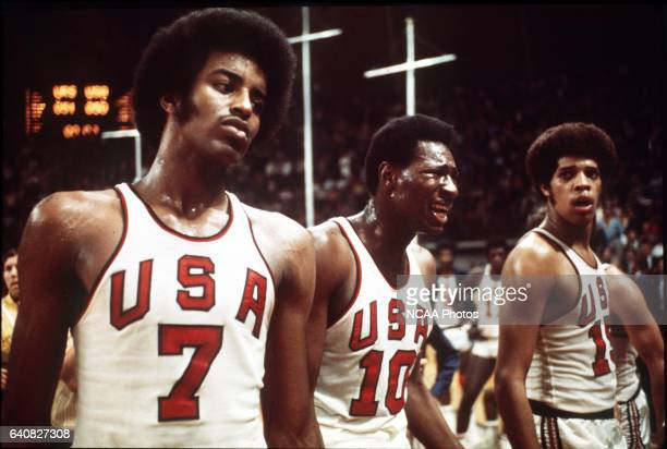 The US basketball team shows their frustration to the decision of the officials giving the gold medal to the Soviet Union in at the Olympic games in...