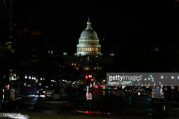 The U.S. Capitol building is seen down Pennsylvania Avenue from Freedom Plaza on Election Day, November 3, 2020 in Washington, DC. This year's...