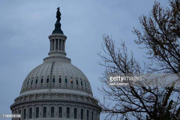 The US Capitol dome is seen on the morning that Gordon Sondland the US ambassador to the European Union testifies before the House Intelligence...