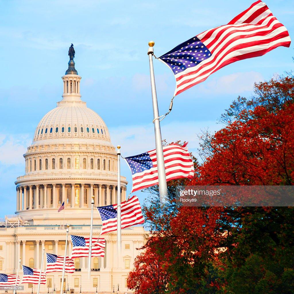 Il Campidoglio degli Stati Uniti a Washington D.C., USA, al tramonto : Foto stock