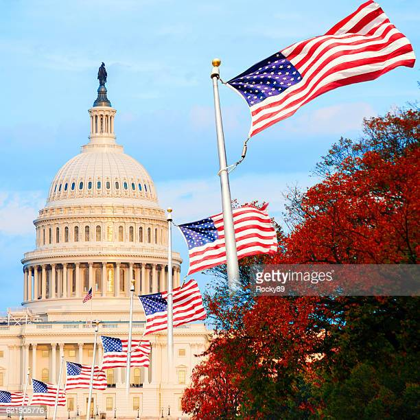 the us capitol in washington d.c., usa, at sunset - capital cities stock pictures, royalty-free photos & images