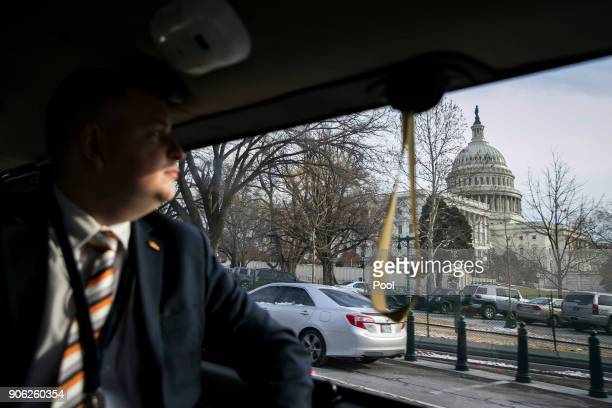 The US Capitol is seen from President Donald Trump's motorcade as he travels to Capitol Hill for the congressional Gold Medal ceremony for former...