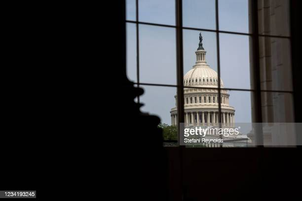 The U.S. Capitol is seen from the Cannon House Office building on July 25, 2021 in Washington, DC. Lawmakers are working to finalize an...