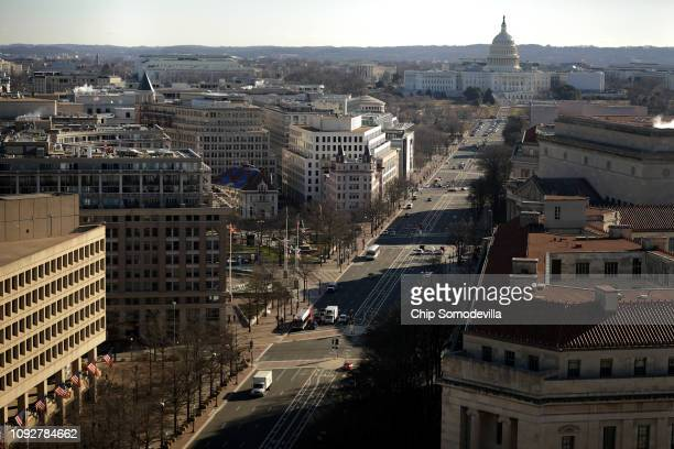 The US Capitol is seen from the observation deck of the Old Post Office Tower January 11 2019 in Washington DC While thousands of National Park...
