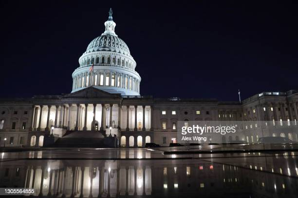 The U.S. Capitol is seen in the evening hours on March 5, 2021 in Washington, DC. The Senate continues to debate the latest COVID-19 relief bill.