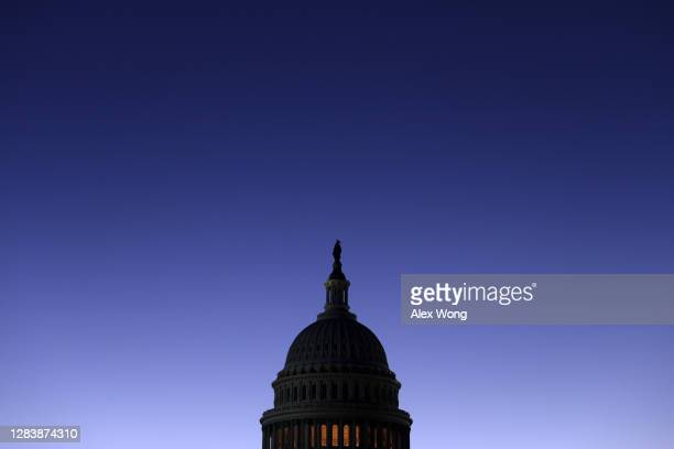 The U.S. Capitol is seen in the morning hours of November 4, 2020 in Washington, DC. The nation awaits the results of a historic presidential...