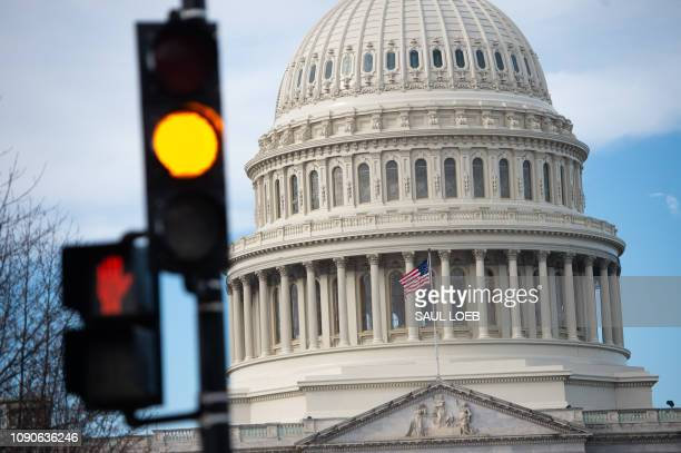 The US Capitol is seen on the first work day for some federal workers following a 35-day partial government shutdown in Washington, DC, January 28,...
