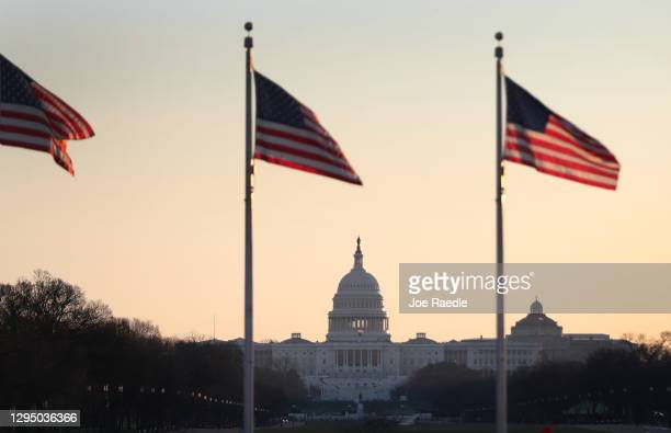 The U.S. Capitol is seen the day after a pro-Trump mob broke into the building on January 07, 2021 in Washington, DC. Congress finished tallying the...