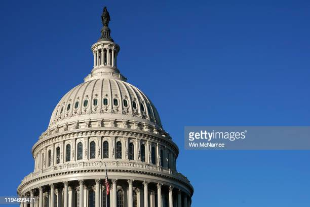 The U.S. Capitol is shown early December 18, 2019 in Washington, DC. Later today the U.S. House of Representatives is expected to vote on two...