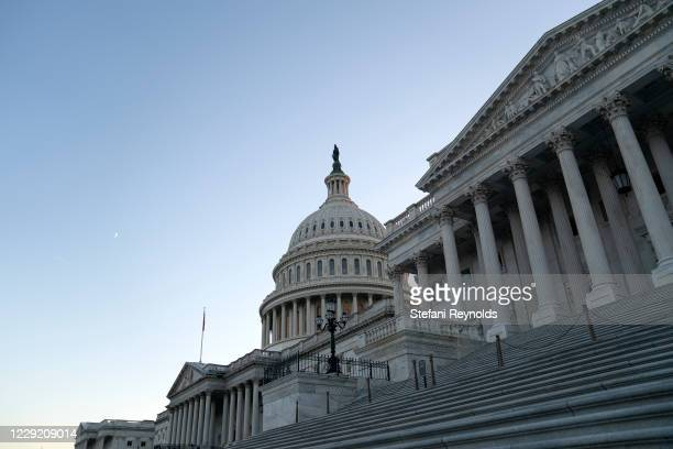 The U.S. Capitol is shown on October 21, 2020 in Washington, DC. The White House is hoping to reach a deal on a COVID-19 stimulus package in the next...