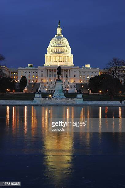The U.S. Capitol lit up at night over water with reflection