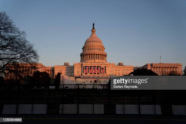The U.S. Capitol stands on January 12, 2021 in Washington, DC. Today the House of Representatives plans to vote on Rep. Jamie Raskin's resolution...