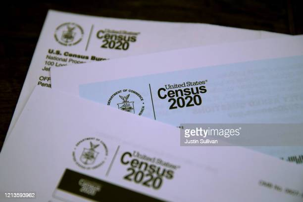 The US Census logo appears on census materials received in the mail with an invitation to fill out census information online on March 19 2020 in San...