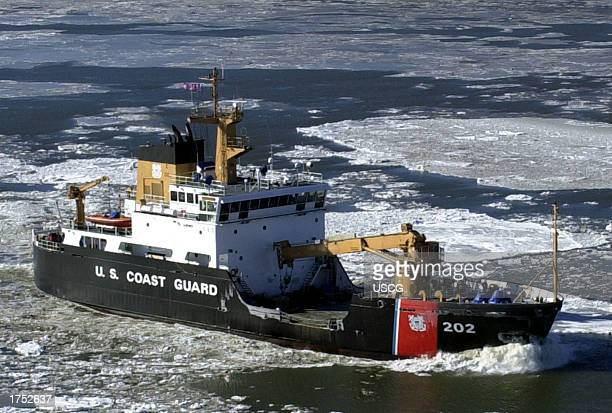 The US Coast Guard Cutter Willow a 225foot buoy tender based in Newport Rhode Island breaks ice on the Hudson River off the coast of New York Coast...