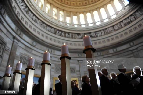 The US Congress and the US Holocaust Memorial Museum hold a Holocaust Day of Remembrance ceremony in the Rotunda on April 15, 2010 in Washington, DC....