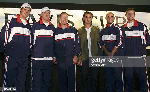 The US Davis Cup team Bob Bryan Mike Bryan Coach Patrick McEnroe Andre Agassi and Andy Roddick with Gavin Rossdale at the Davis Cup Draw at the Home...