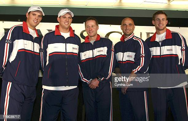 The US Davis Cup team Bob Bryan Mike Bryan Coach Patrick McEnroe Andre Agassi and Andy Roddick at the Davis Cup Draw at the Home Depot Center in...