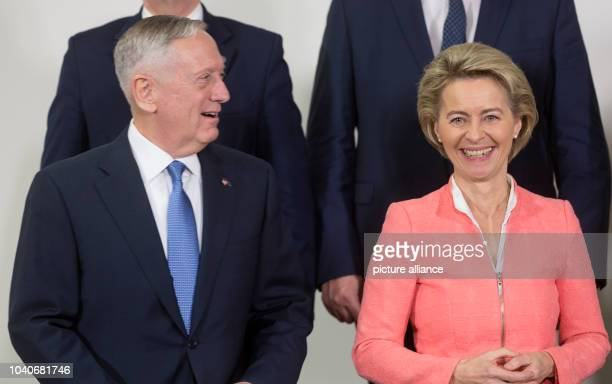 The US defence minister Jim Mattis and his German counterpart Ursula von der Leyen at a meeting of the defence ministers of the Nato countries in...