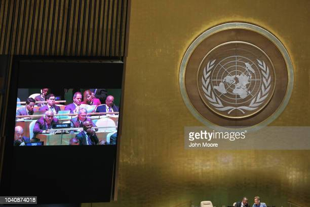 The US delegation to the United Nations listens as Cuban President Miguel Mario DíazCanel Bermúdez addresses the UN General Assembly on September 26...
