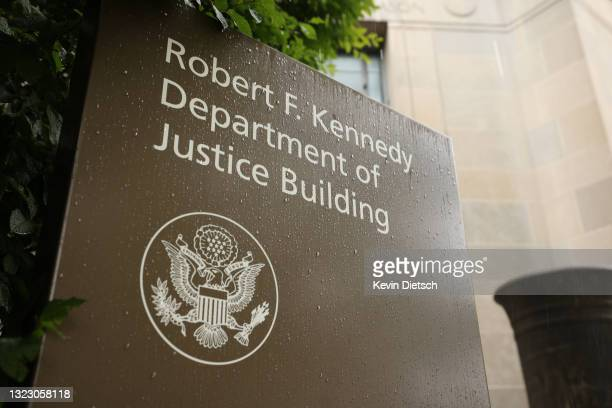The U.S. Department of Justice is seen on June 11, 2021 in Washington, DC. Trump's Justice Department subpoenaed Apple for data from House...