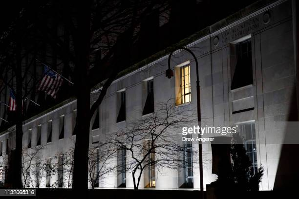The US Department of Justice stands after Attorney General William Barr told the House and Senate Judiciary Committees in a letter that Special...