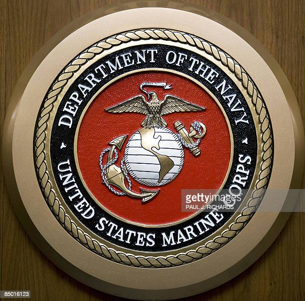 The US Department of the Navy US Marine Corps logo hangs on the wall February 24 at the Pentagon in WashingtonDC AFP Photo/Paul J Richards