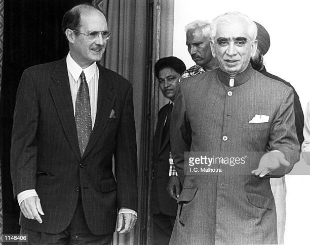 The US Depty Secretary of State Strobe Talbott walks along with Indian foreign policy adviser Jaswant Singh before the start of their meeting at...