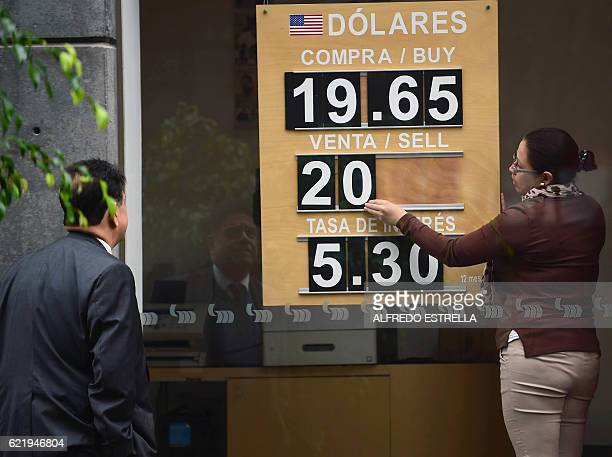 The US dollar exchange rate is seen on the board of a bank in Mexico City on November 9 2016 The dollar tumbled against the yen and euro while the...