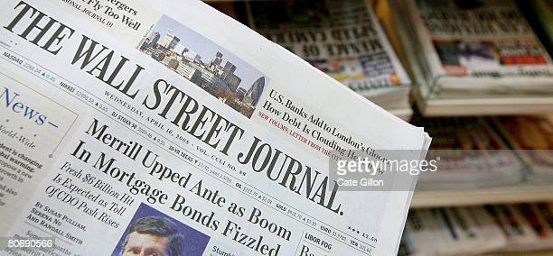 The US Edition of The Wall Street Journal is displayed in front of British newspapers which it now sells alongside on a news stand in London on April...