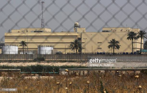The US embassy compound is pictured in Baghdad's Green Zone on May 20 2019 in the Iraqi capital A Katyusha rocket crashed the previous day into...