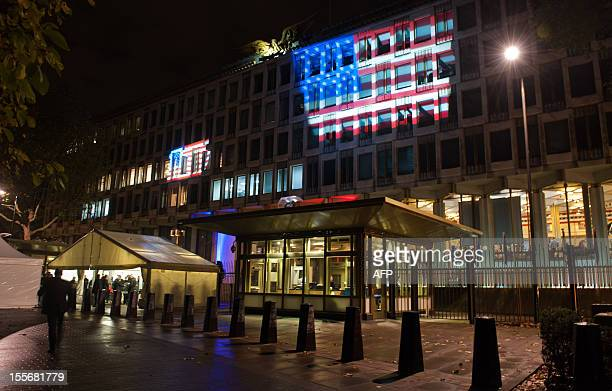 The US Embassy in central London is decorated in the 'Stars and Stripes' on November 7 2012 as guests arrive for an election night party Republican...