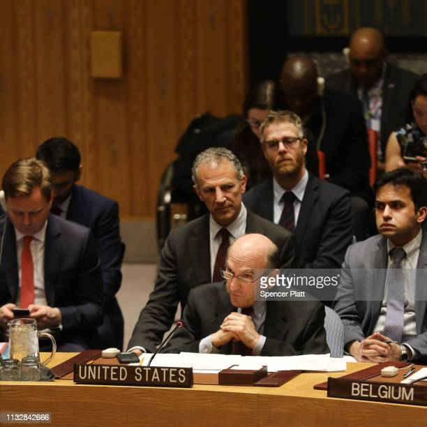 The US envoy on Venezuela Elliott Abrams speaks before a vote at the United Nations Security Council for a US led draft resolution on the ongoing...