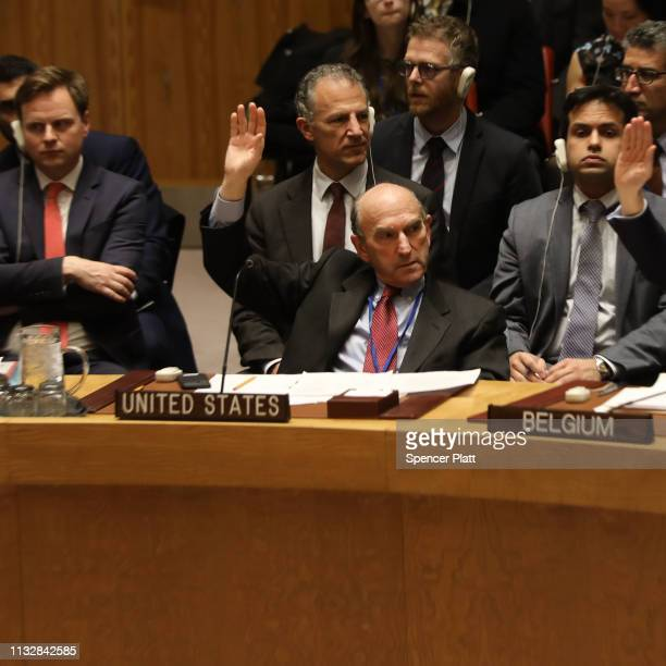 The US envoy on Venezuela Elliott Abrams votes at the United Nations Security Council in favor of a US led draft resolution on the ongoing crisis in...