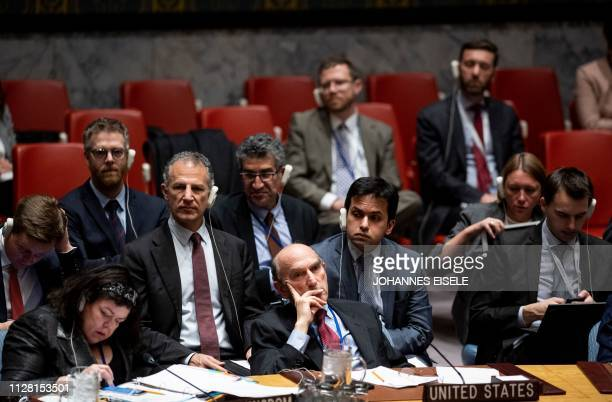 The US envoy to Venezuela Elliott Abrams attends the United Nations Security Council meeting on controlling the turmoil in Venezuela on February 28...
