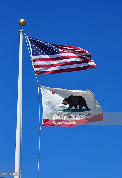 The US flag flies above California's Bear Flag in San Francisco The first official version of the Bear Flag was adopted by the California State...