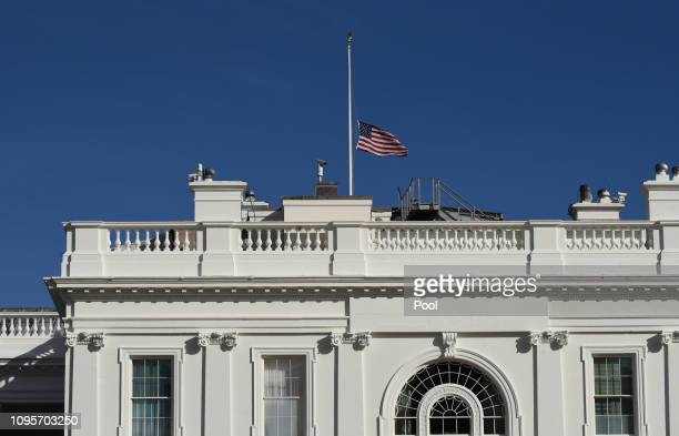 The US flag flies at half-mast above the White House after the death of the longest-serving member of Congress in US history, Michigan Democrat John...