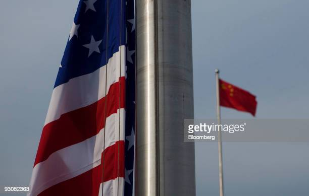 The US flag flies next to the Chinese Flag in Beijing China on Monday Nov 16 2009 US president Barack Obama who arrived in Beijing today said a...