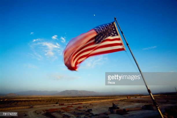 The US flag flies on the Pashtun tribal lands in the Pashtun tribal zone of Waziristan on July 2004 in Afghanistan