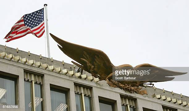 The US flag flies over the barricaded US Embassy November 1 2004 in London England Security is tight at the embassy as US President George W Bush and...