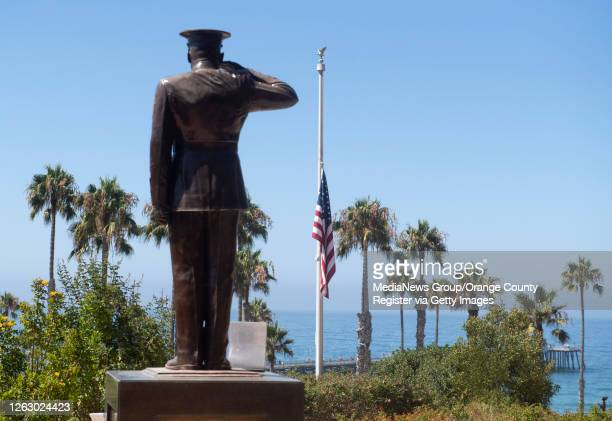 The U.S. Flag was lowered to half-staff at Park Semper Fi in San Clemente, CA on Friday, July 31, 2020. A day earlier one Marine from Camp Pendleton...