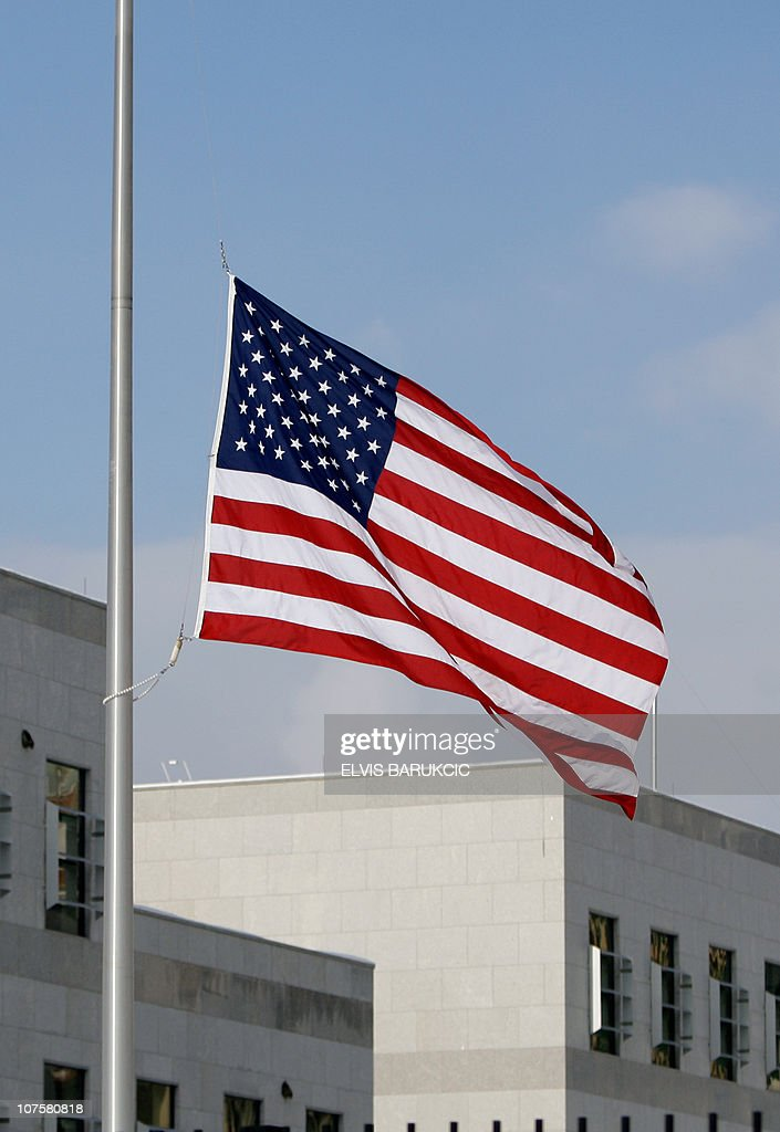 The US flies at half mast at the US Embassy in Sarajevo on December