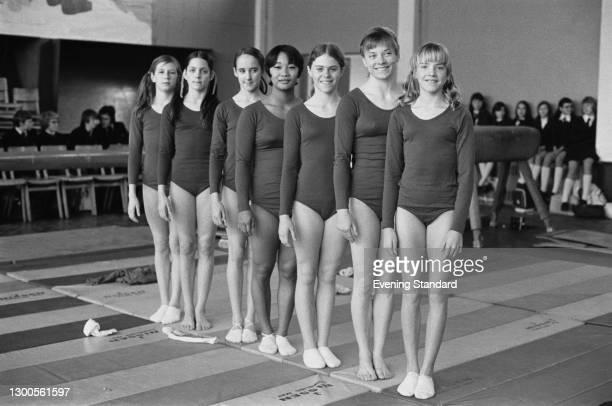 The US gymnastic team on a European tour, UK, 27th February 1973. They are Debbie Hill, Kim Montagriff, Alicia Johnston, Trish Reed, Sharon Akiyama,...