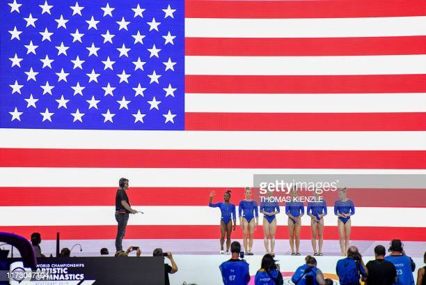 The US gymnastic women's team with Simone Biles Mykayla Skinner Kara Eaker Sunisa Lee Grace McCallum and Jade Carey are presented prior to a training...
