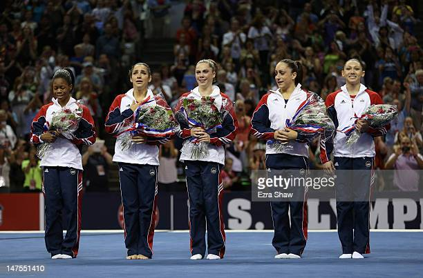 The US Gymnastics women's team of Gabrielle Douglas Alexandra Raisman McKayla Maroney Jordyn Wieber and Kyla Ross are announced as the team going to...