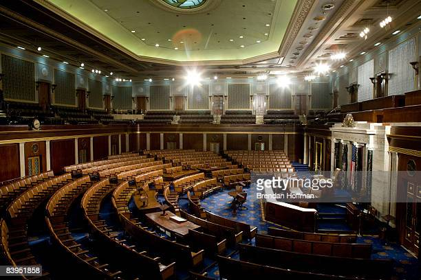 The U.S. House of Representatives chamber is seen December 8, 2008 in Washington, DC. Members of the media were allowed access to film and photograph...