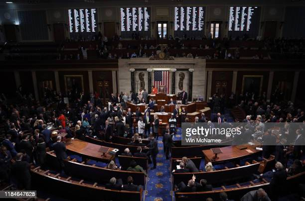 The U.S. House of Representatives votes on a resolution formalizing the impeachment inquiry centered on U.S. President Donald Trump October 31, 2019...