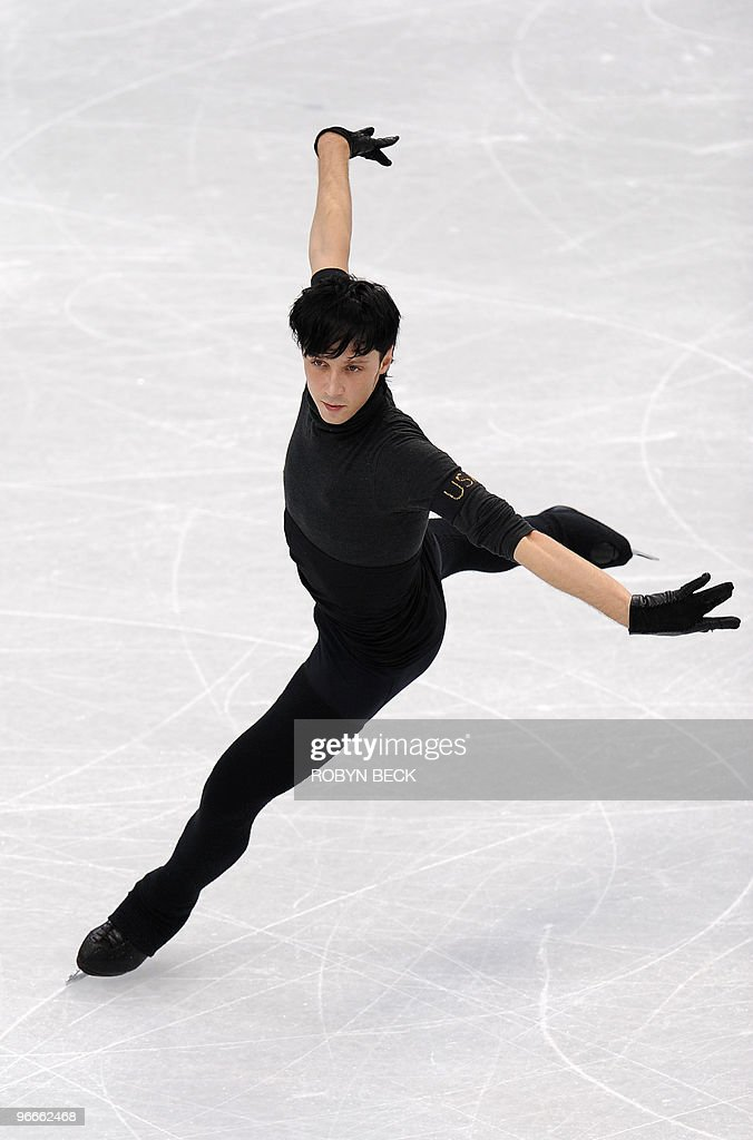 The US' Johnny Weir practices at a train : News Photo