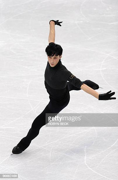 The US' Johnny Weir practices at a training session at the Pacific Coliseum on February 13 2010 during the 2010 Winter Olympics in Vancouver AFP...